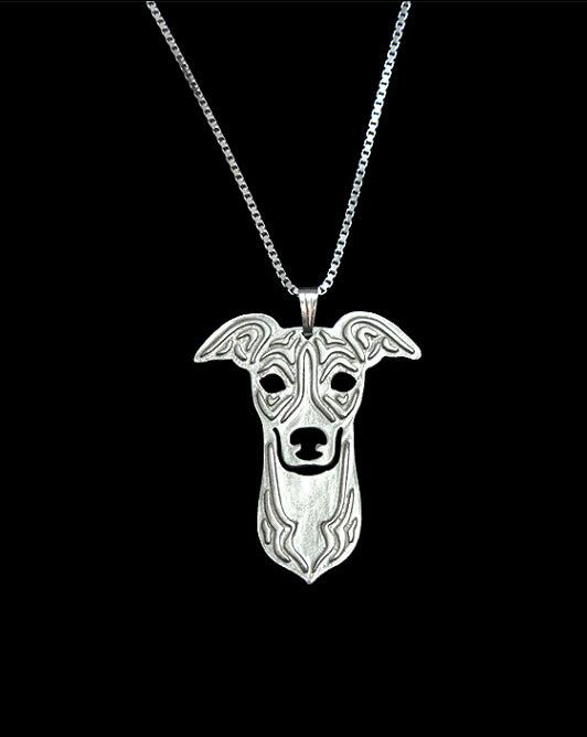 50cm 3D boho Cute Italian Greyhound silver Pendants Necklaces metal charms puppy pets dogs women fashion Statement Jewelry