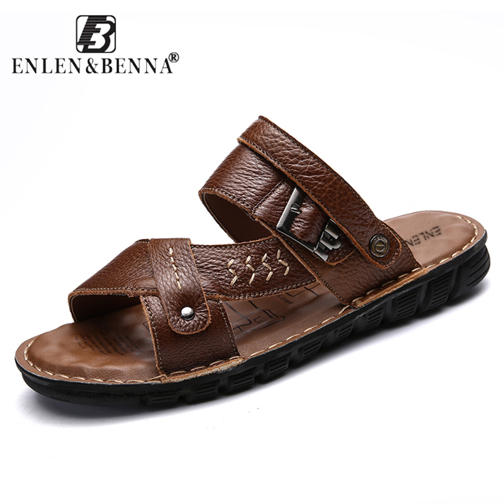 Quality Genuine Leather Men Roman Sandals Sneakers Summer Shoes Beach Elastic Slippers Male Native Rubber Sandals Men Big Size