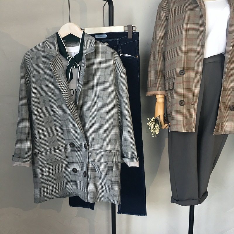 2017 new fashion female plaid blazer suit coat gray vintage double breasted casual outwears coats with pockets