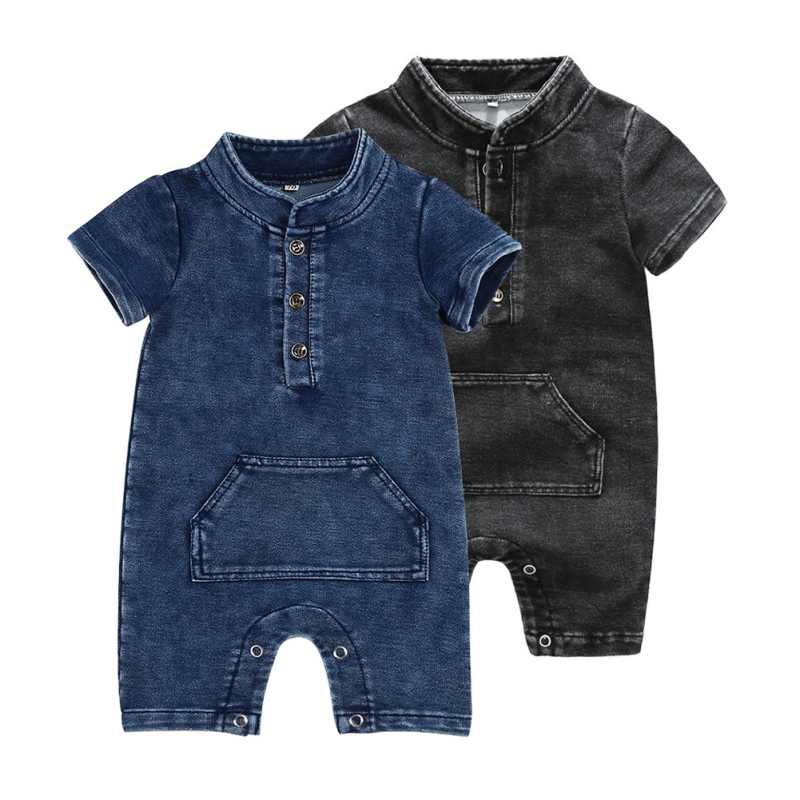 30ed9628b Children's Wear Romper New Baby Boys Rompers Knitted Denim Short-Sleeved Baby  Romper Boy's Spring