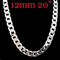 Men S Jewelry 925silver Fashion Necklace 20inchx12mm Free Shipping Factory Price Sterling Silver Necklace MN11