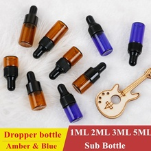 50pcs 1ml 2ML 3ML Amber Blue Mini Glass Bottle Amber Sample Vial Small Essential Oil Bottle with Glass Eye Dropper + Dropper все цены