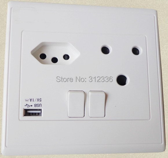 Free Shipping South Africa type three Holes socket with switch 250V 50Hz 16A ONE USB DC 5V 1000mA white panel wall Socket