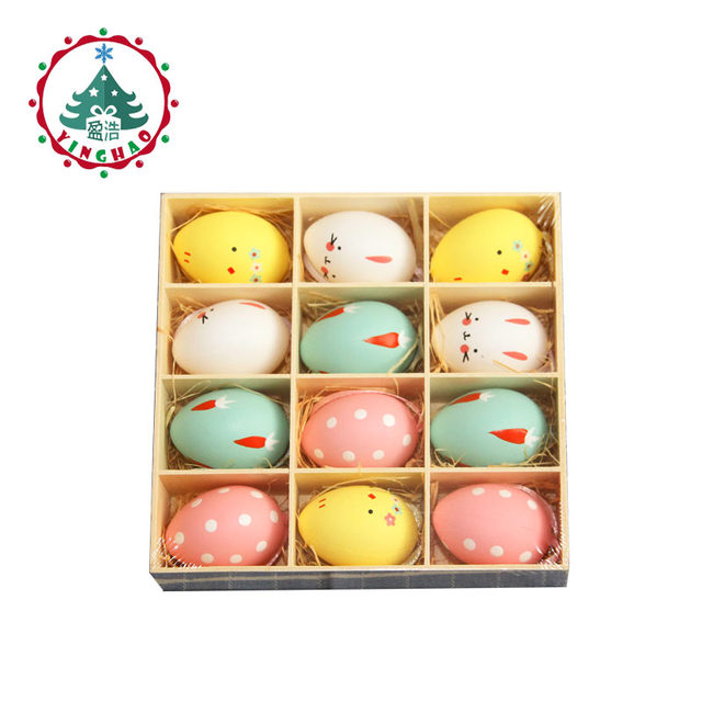 inhoo 12pcs Easter Decoration Color Painting Eggs DIY Birthday Wedding Party Decoration Valentine Home Accessories Kids Supplies