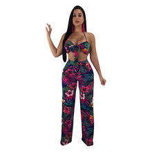 MUXU women floral two piece set cropped womens sets  top and pants clothing suits 2018