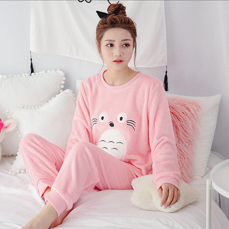 d06d652b076f Winter Women Pyjamas Sets Polyester Full Trousers Lady Two Piece Pajama Set  Flannel Female Cartoon Bunny Print Home Clothing
