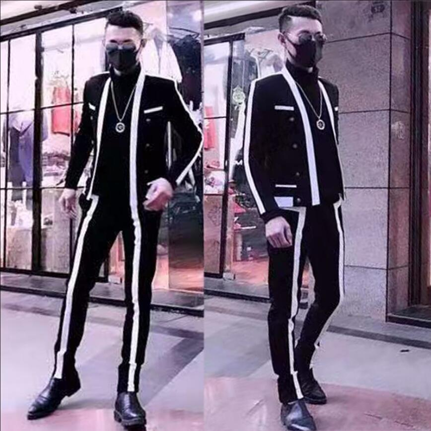 Men Suits Black And White Stitching Nightclub Dj Tide Star Singer Suits Fashion Self-cultivation High-quality Small Suits 2020
