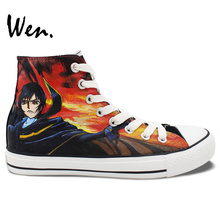 Wen Anime Black Hand Painted Shoes Design Custom Code Geass High Top Men Women's Canvas Sneakers for Gifts
