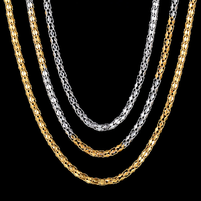 Top Quality Trendy Stainless Steel Women Necklace Gold Color Popcorn Chain Necklaces For Female Party Gift