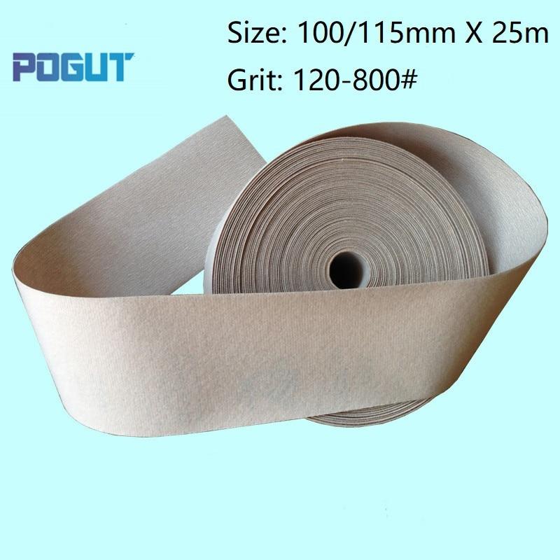 Width 100mm / 115mm X Length 25m Flocking Sandpaper Roll Abrasive Sanding Paper Wood Furniture Paint Polishing