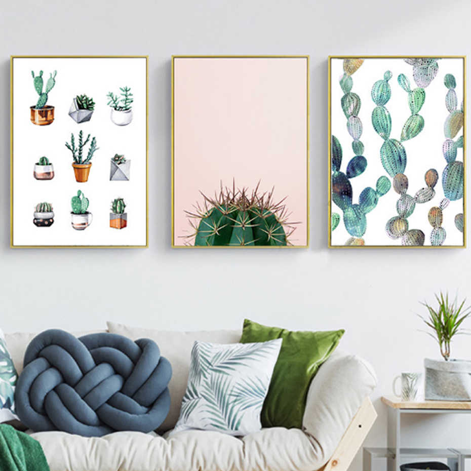 Modern Leaf Cactus Landscape Canvas Painting Nordic Minimalist Poster Print Wall Art Picture for Living Room Home Office Decor