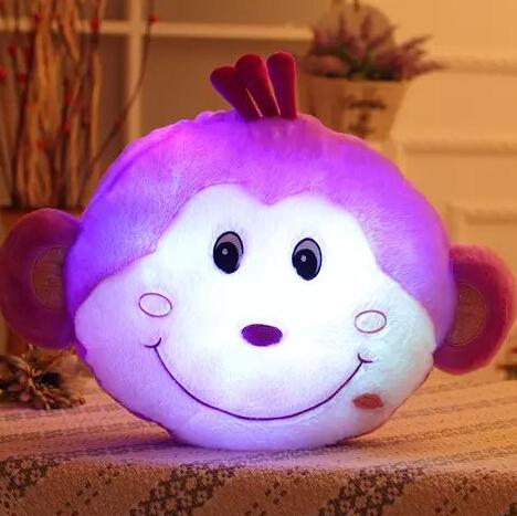 Marca nueva Glowing mono Soft Glow luz mono LED luminoso de peluche muñecos de peluche de juguete cojín almohada mejor regalo para los niños YZT0127