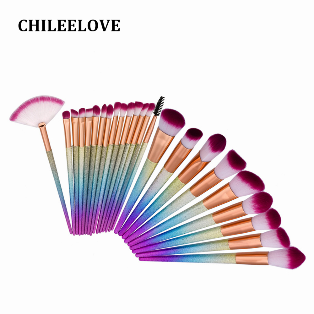 CHILEELOVE 24 Pcs Scrub Matte Fan Brush Eye Shadow Foundation Powder Professional Makeup Brush Kit Cosmetic Tool For Women kitbwk6500bwkfscbgrn value kit boardwalk scrub brush bwkfscbgrn and boardwalk 6500 two ply facial tissue bwk6500