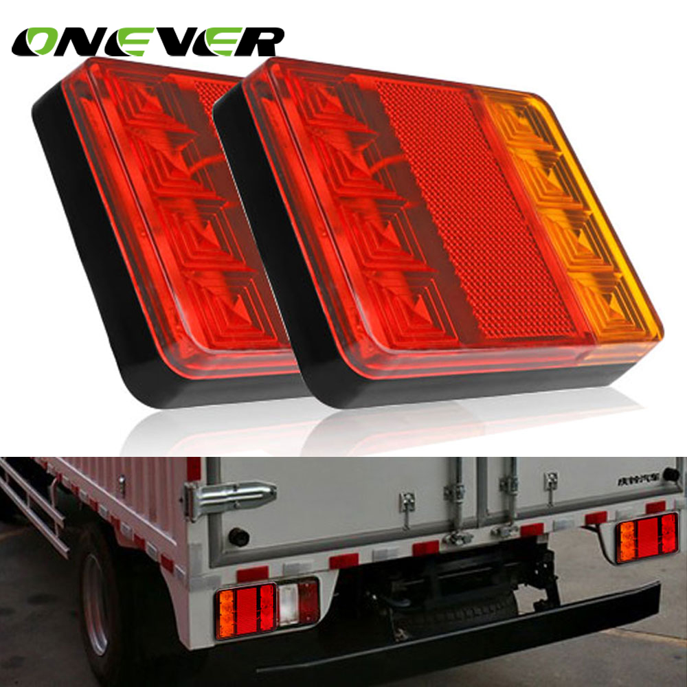2pcs Car Rear Tail Light 8 Led Warning Lights Reverse