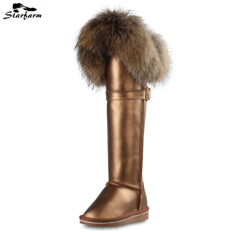 STARFARM Brand Chic Winter Snow Boots Fox Fur Russian Boot Genuine Leather