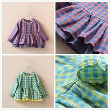New Sweet Kids Girls Plaid Ruffles Cotton Linen Tees Long Sleeve Purple and Green Color Western Fashion Tops Wholesale