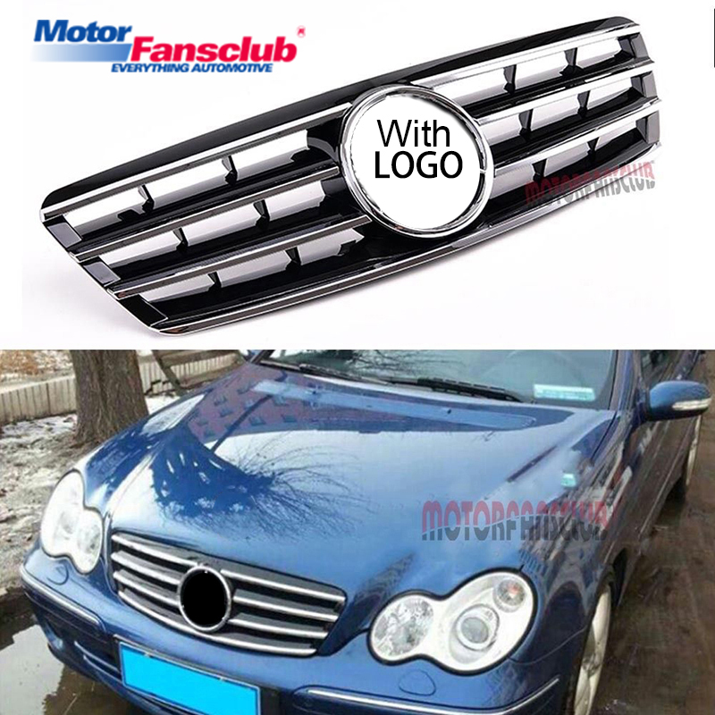 Car Racing Grille For Mercedes Benz W203 C-Class 2001-2007 Grill Emblems Black Radiator Chrome Front Bumper Lower Modify Parts pp class front car mesh grill sport style fit for benz w203 c 2000 2006