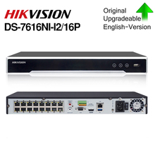 Hikvision original NVR DS 7616NI I2/16P 4K 16ch video recorder 12mp Cameras nvr resolution ports plug & play 2 SATA interfaces