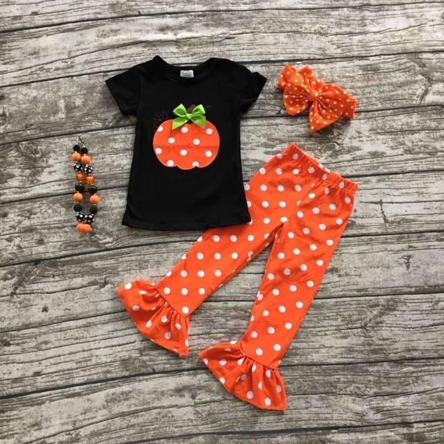 Conjuntos de roupas meninas do bebê do dia das bruxas roupas boutique meninas do Dia Das Bruxas abóbora roupas plissado polka dot capri pant com acessórios
