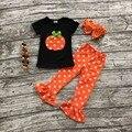 Ropa para niñas establece bebé boutique de niñas trajes de halloween calabaza De Halloween ropa ruffle polka dot capri pant pantalón con accesorios