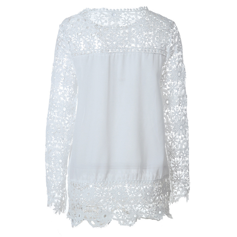 Laamei S-7XL Plus Size Chiffon Blouses Fashion Womens Blouses Lace Long Sleeve Shirt Crochet Blusa Tops Blusas Feminina Camisa