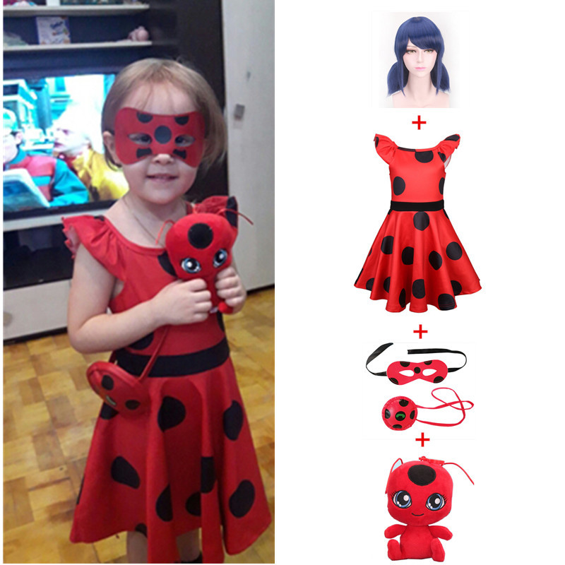 Fantasia Spandex Ladybug Costumes Kids Dress Cosplay Christmas Party Bag Girls Children Lady Bug Zentai Suit Halloween Costume