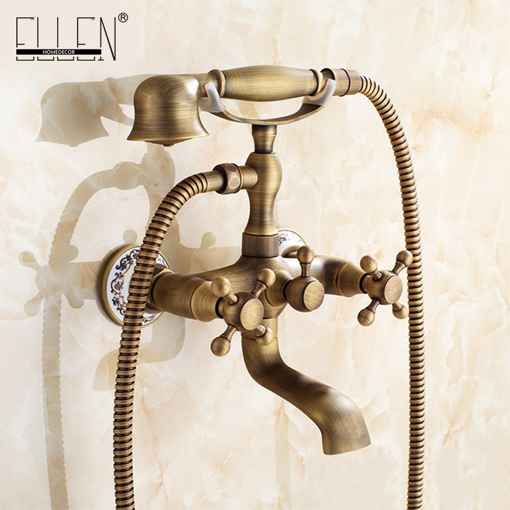 Wall Mounted Bath Shower Faucet With Hand Shower Telephone Bath ...