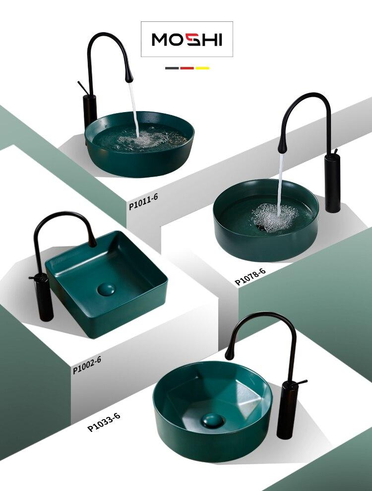 Simple discret art bassin Vert Mat en céramique Circulaire Carré lavabo argent comptoir lavabo lavabos Vasque