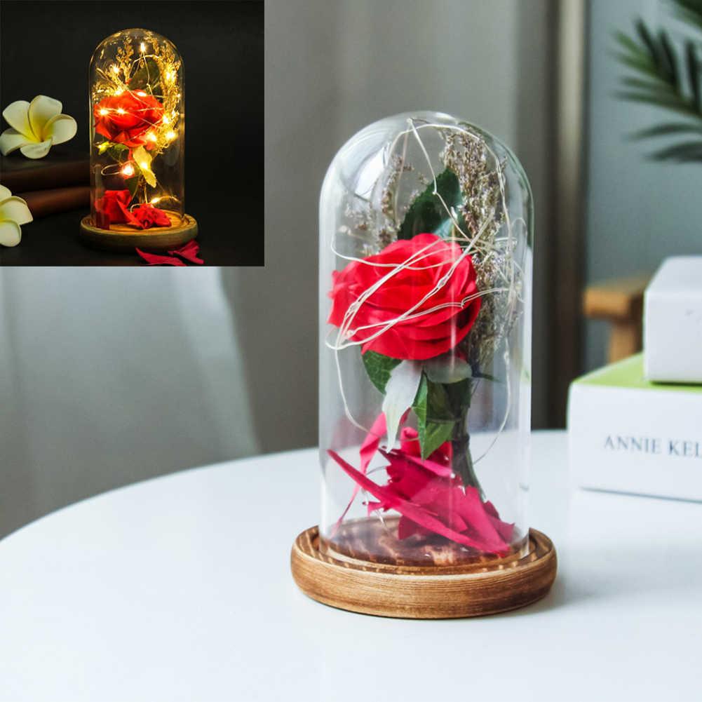 Бутылка искусственные шелковые цветы светодиодный светящийся светильник полоски настольная лампа стеклянный купол с деревянной основой День рождения Валентина подарки для девочки