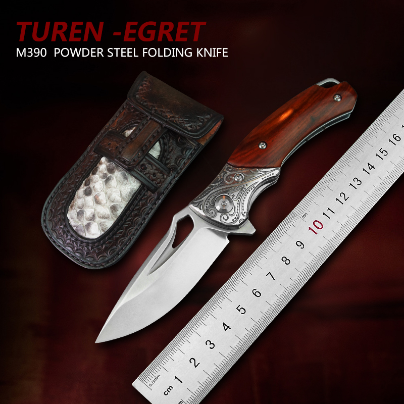 TUREN-M390 Powder Steel Folding Blade Knife Stainless Steel Wooden Handle High Hardness Outdoor EDC Tools Hunting Pocket Knives
