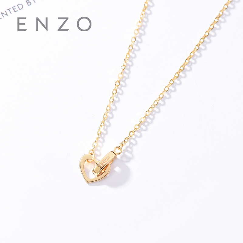 Real 18K Gold Pendant Fine Jewelry Women Miss Girls Gift Party Female Heart Love Letter Necklace Solid Hot Sale New Good Trendy