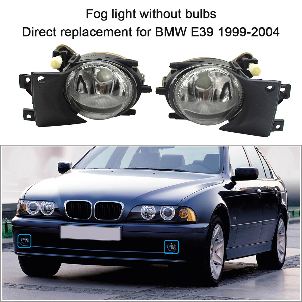 цена на Front Fog Lights for BMW E39 1 Pair Left & Right without Bulbs Replacement Kit for BMW E39 for BMW Fog Lights Lamp