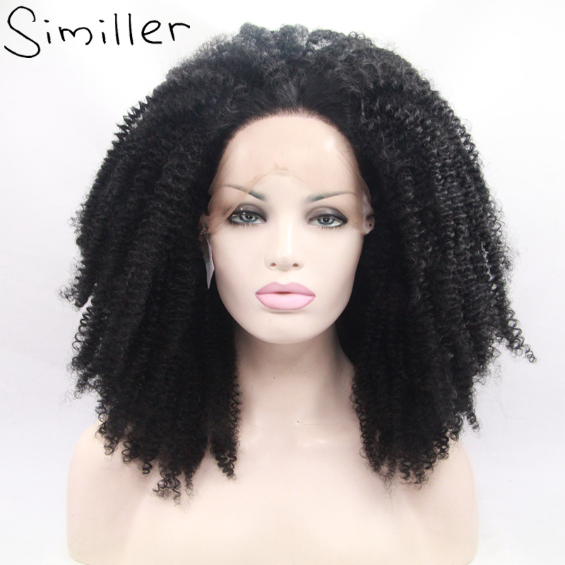 """Similler Afro Kinky Curly Long Fluffy Big Heat Resistant Synthetic Lace Front Wigs Natural Black For Black Women 20/22/24/26"""""""