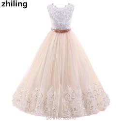 Прекрасный для девочек в цветочек платья этаж Длина бальное платье для девочек Праздничное платье кружевной топ для девочек платье для