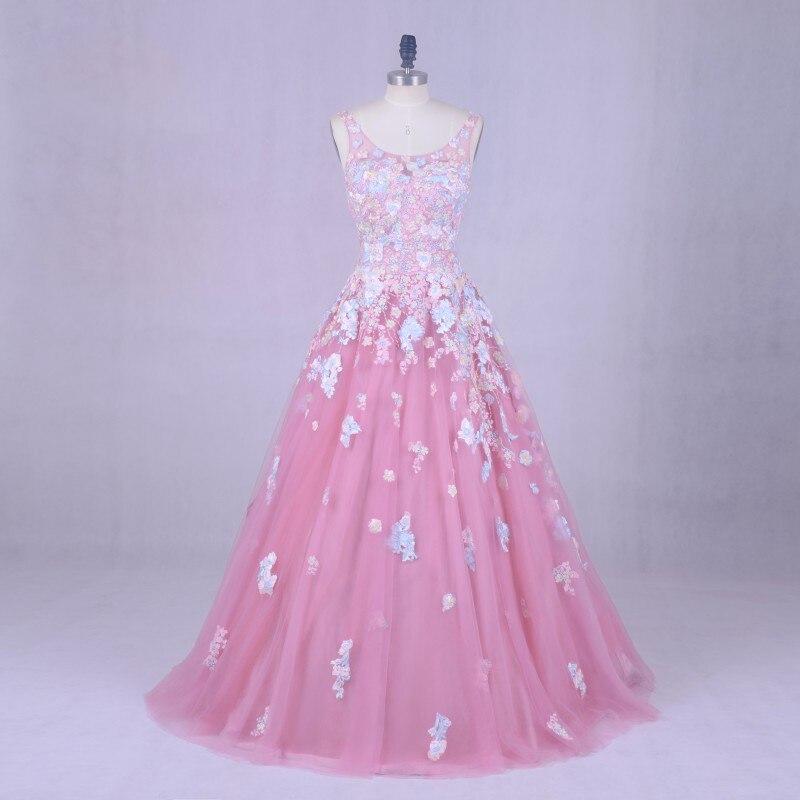 Romantique robe de mariée florale Photo réelle Scoop Applique avec des fleurs rose robe formelle sur mesure robe de mariée