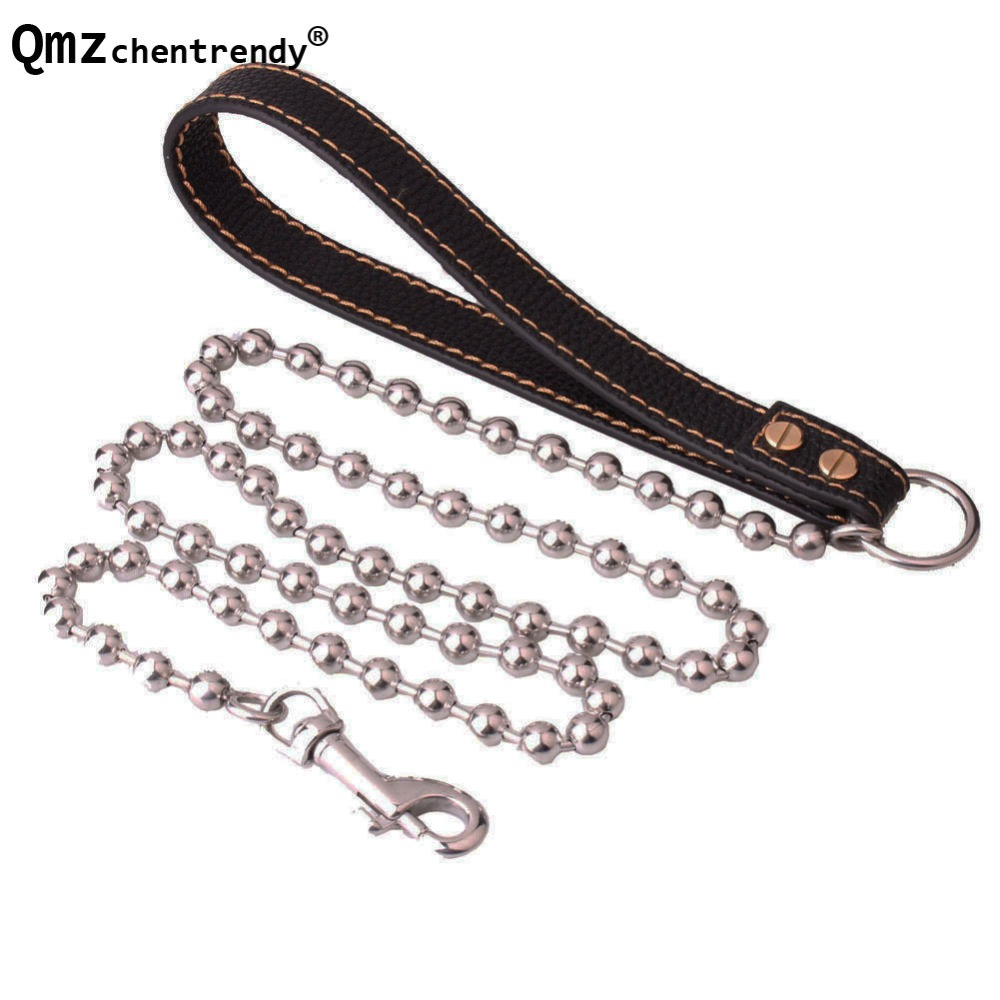 10mm 125cm Silver Tone Stainless Steel Slip Drop Chain Dog Training Choke Collar Strong Traction Practical Pets Chain Necklace