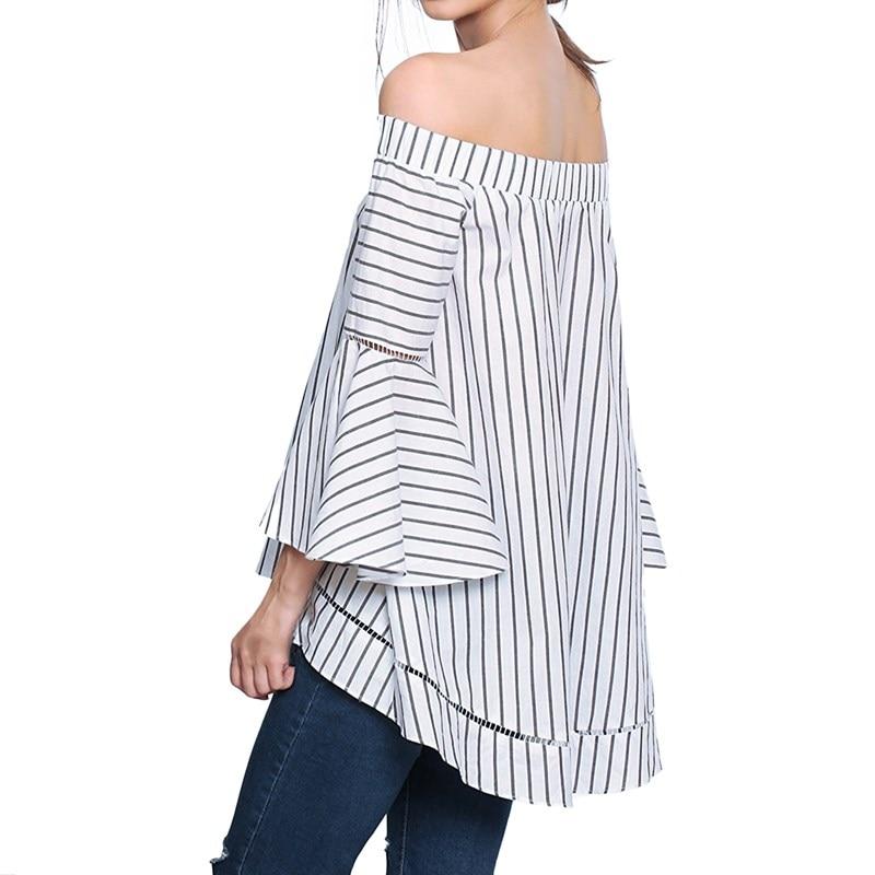 Verano para mujer vintage de la raya vertical de cuello flare manga ruffles blus