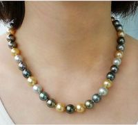 14k gold stunning 11 12mm freshwater natural round multicolor pearl necklace 18
