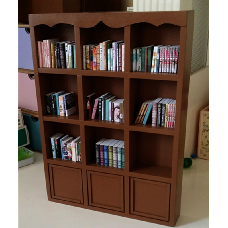1/6 Furniture toy for dolls dollhouse wooden Miniature bookcase cabinet doll accessories pretend play toys children girls gifts classic world pink princess mirror wooden toy female baby child pretend play vanity dressing table toys furniture for girl