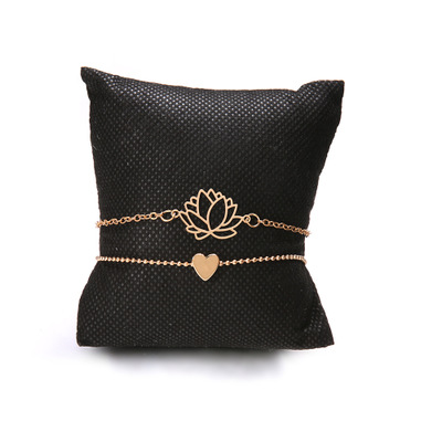 New Simple Female Personality Hollow Lotus Gold Bracelets Christmas Bangle Gift for Women