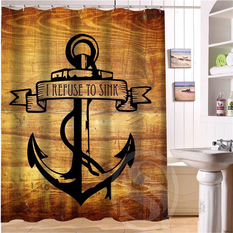 New arrive wood and anchor Custom Shower Curtain Polyester Fabric Custom Bathroom Curtain with Hooks LQ023u9