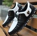 Para hombre de los zapatos planos ocasionales masculinos fresco suave del trabajo y la oficina mocasines hombres del ocio cómodo negro blanco zapatos