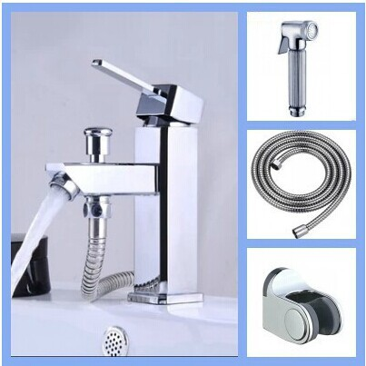 Bathroom faucet with bidet shower connector with spray gun set copper bidet basin bidet shower set