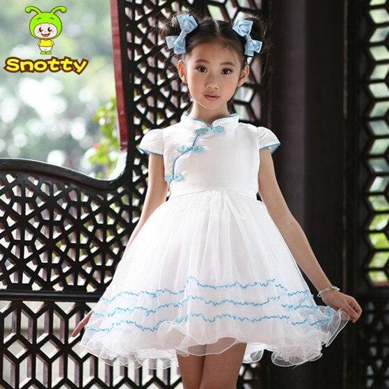 Weiß Und Blau Mädchen Partei Geburtstag Tragen Kleid Chinesischen ...