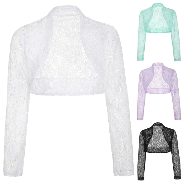 White Lace Bridal Boleros Poque Womens Ladies Long Sleeve Wedding Jackets Plus Size Wraps Shrug For Wedding Wedding Accessories