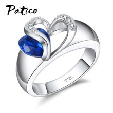 Blue CZ Crystal 925 Sterling Silver Finger Ring Heart Cubic Zirconia Stone for Women Engagement Anniversary Jewelry Gifts(China)