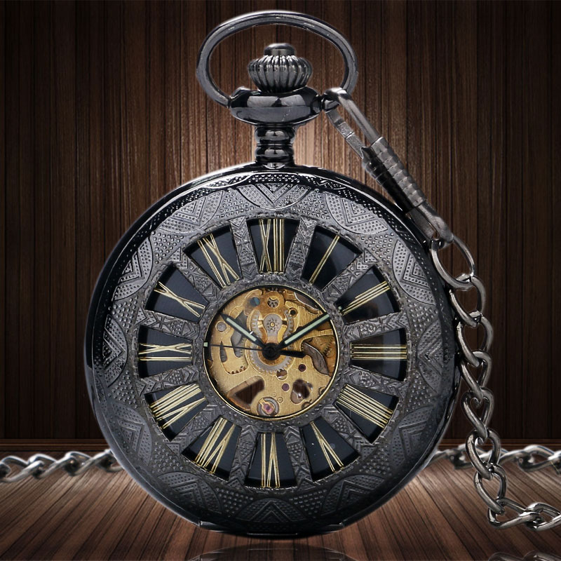 Steampunk Charm Elegant Skeleton Men Watch Transparent Auto Mechanical Retro Vintage Roman Scale Necklace Pocket Fob Watch