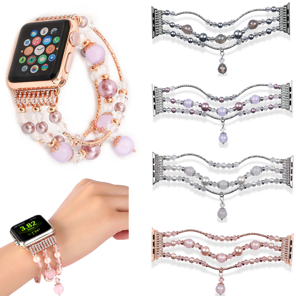 Natural Pink Purple Gray Agate Bracelet for Apple Watch Band Series 1/2/3 Replacement Wrist Women's Fashion Wrist Strap