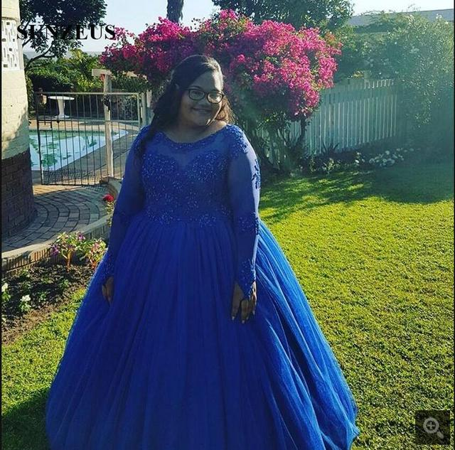 2ee95029 Custom made Plus Size Royal Blue Puffy ball gown prom dress Long Sleeves  beaded appliques African sexy women prom gowns