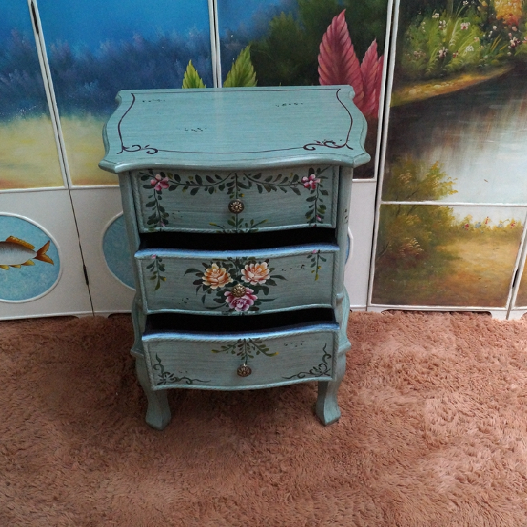 Very American minimalist retro rustic hand painted bedside table 3  UD57